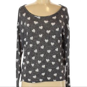 H&M   heathered gray love heart print sweater